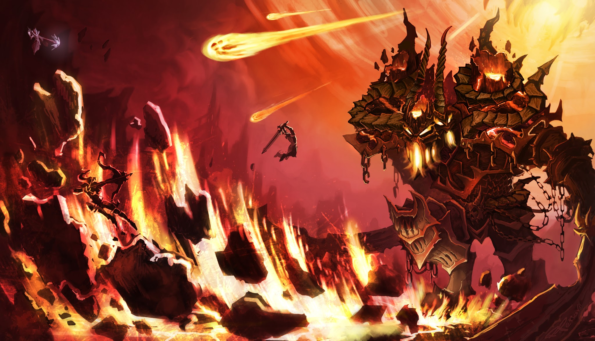 Warriors Attacking A Lava Monster Anime