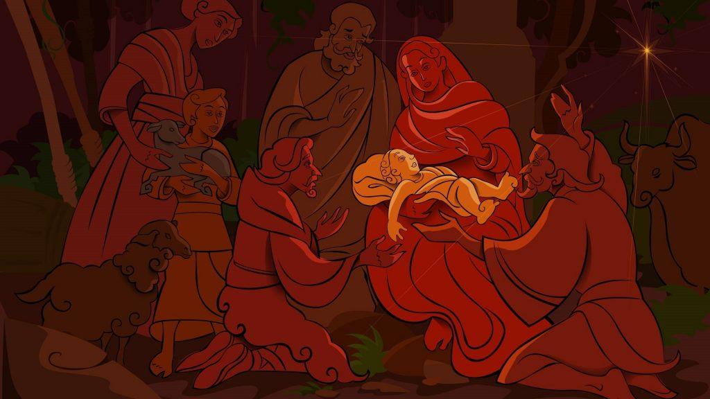Nativity Scene in Red