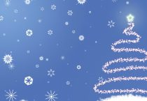 Snowflakes and Tree on Blue Background